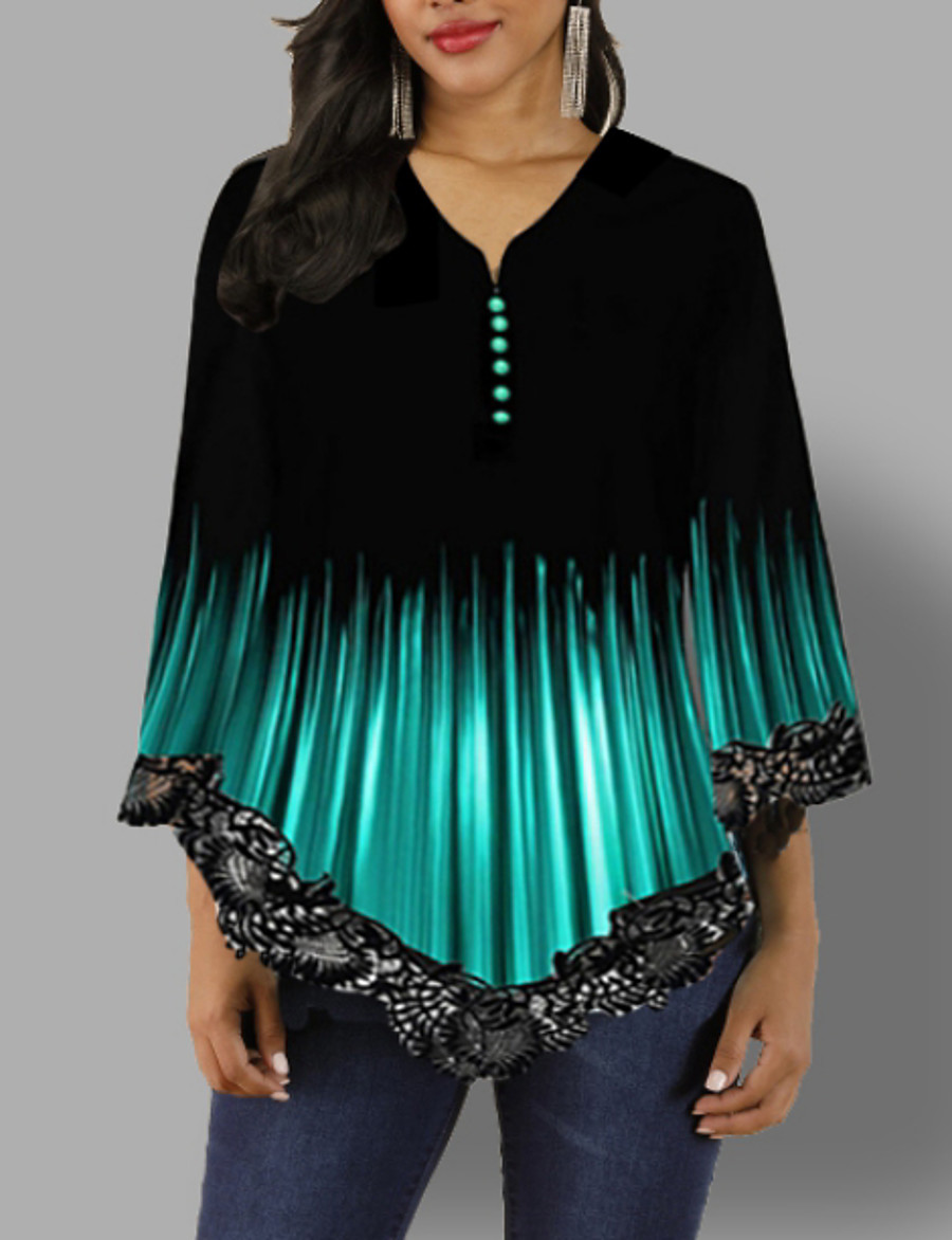Women's Daily Basic Blouse - Color Block V Neck Black
