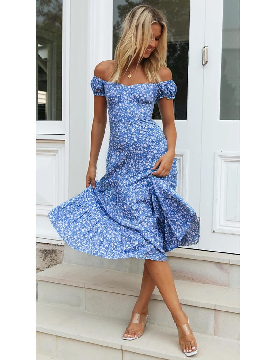 Women's Blue Dress Basic Daily Wear Shift Geometric Off Shoulder Print S M