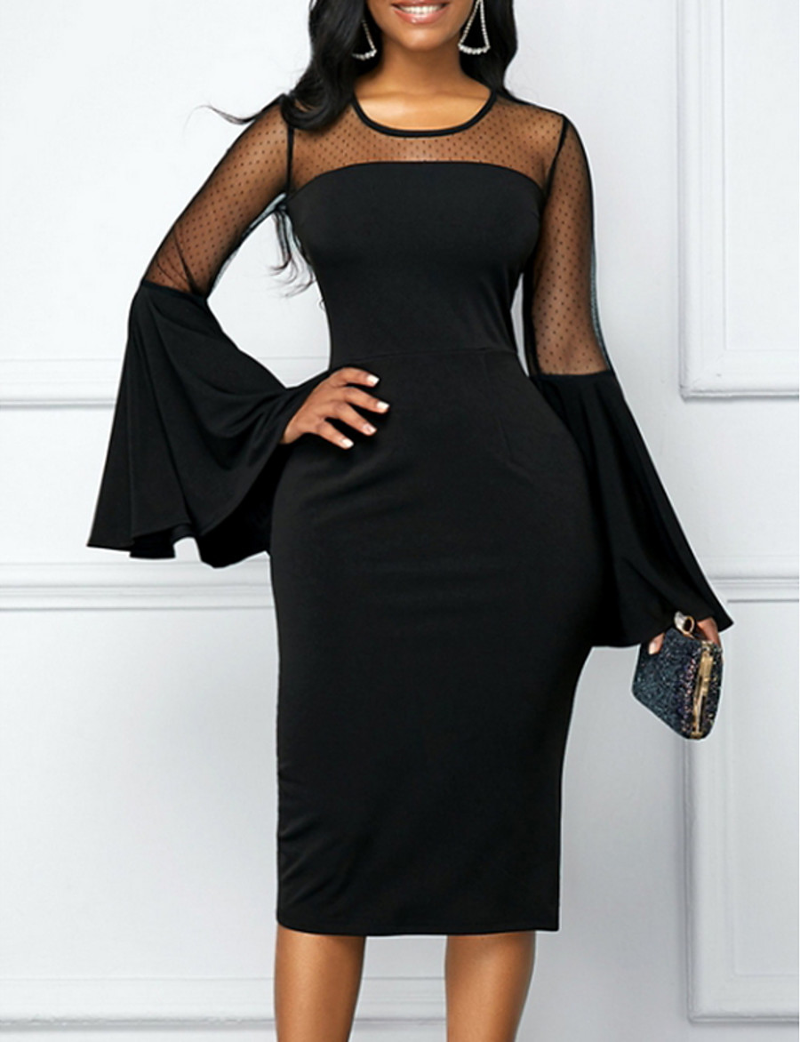 Women's Elegant Sheath Dress - Solid Colored Black S M L XL