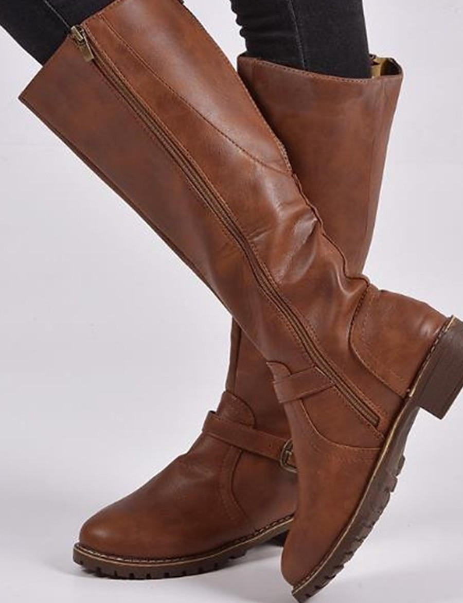 Women's Boots Block Heel Round Toe Daily PU Mid-Calf Boots Winter Black / Brown / Coffee