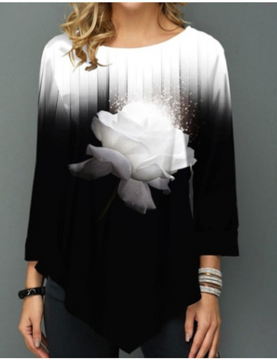 Damen Blumen T-shirt Wein