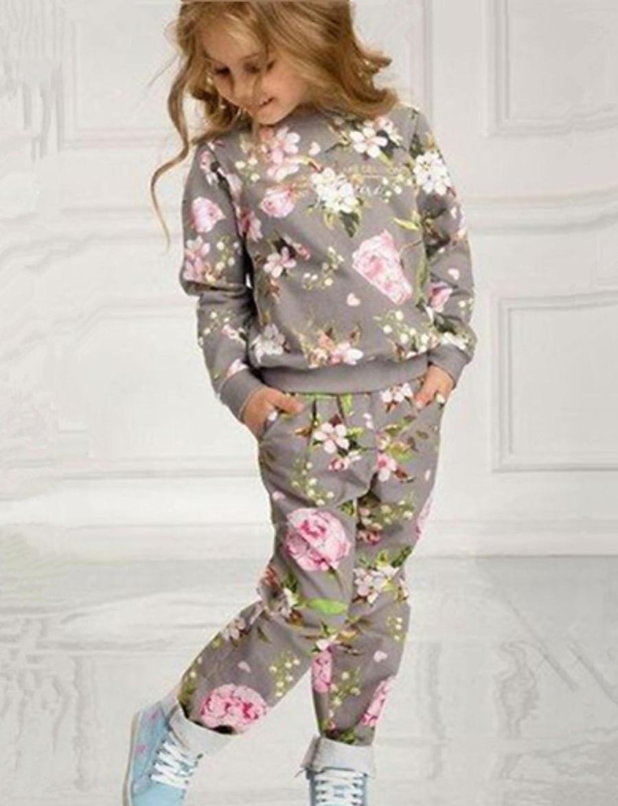 Kids Girls' Clothing Set Long Sleeve Gray Geometric Cotton Basic