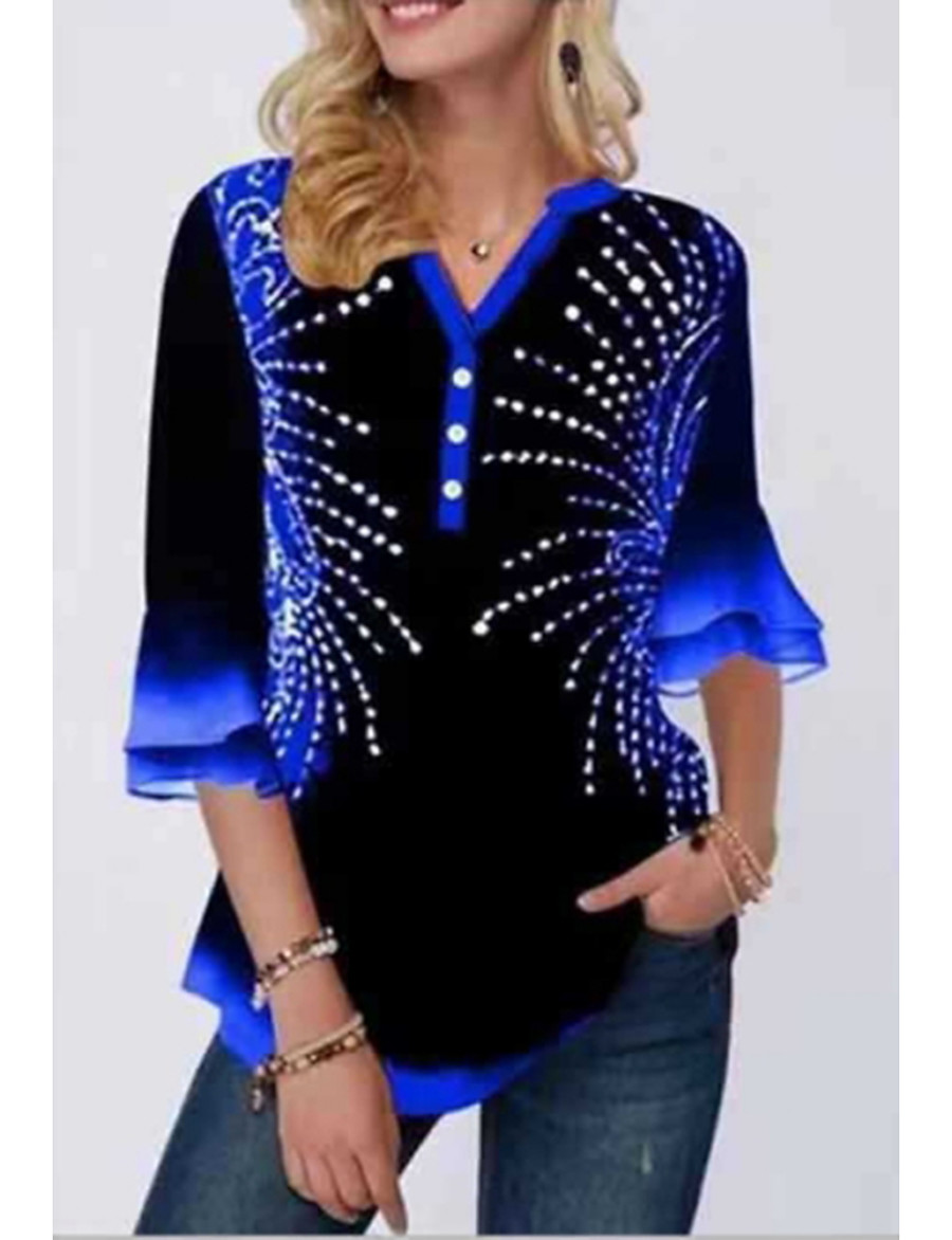 Women's Daily T-shirt - Color Block Blue