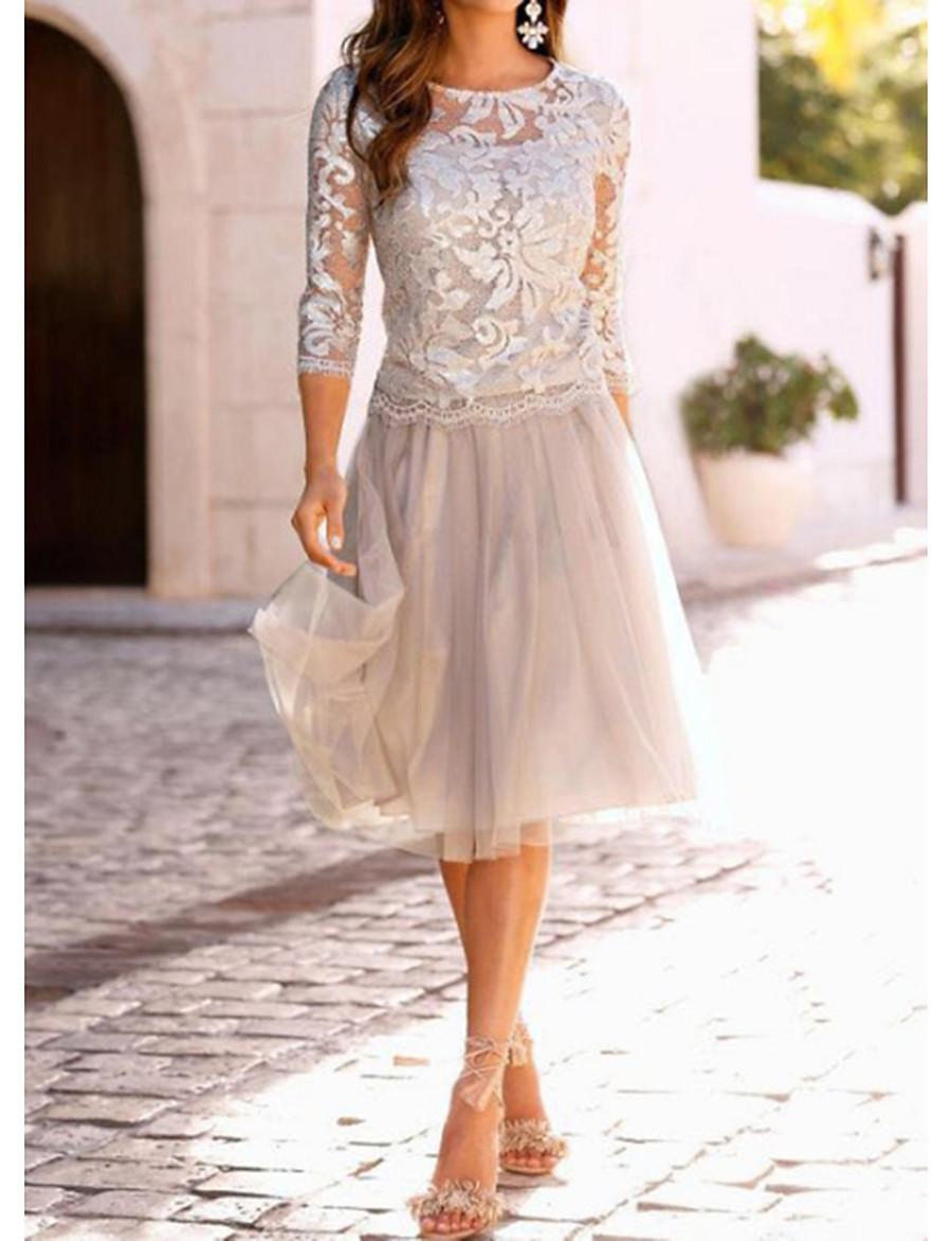 Women's Cocktail Party Elegant A Line Dress - Solid Colored Lace Lace Beige M L XL XXL / Slim