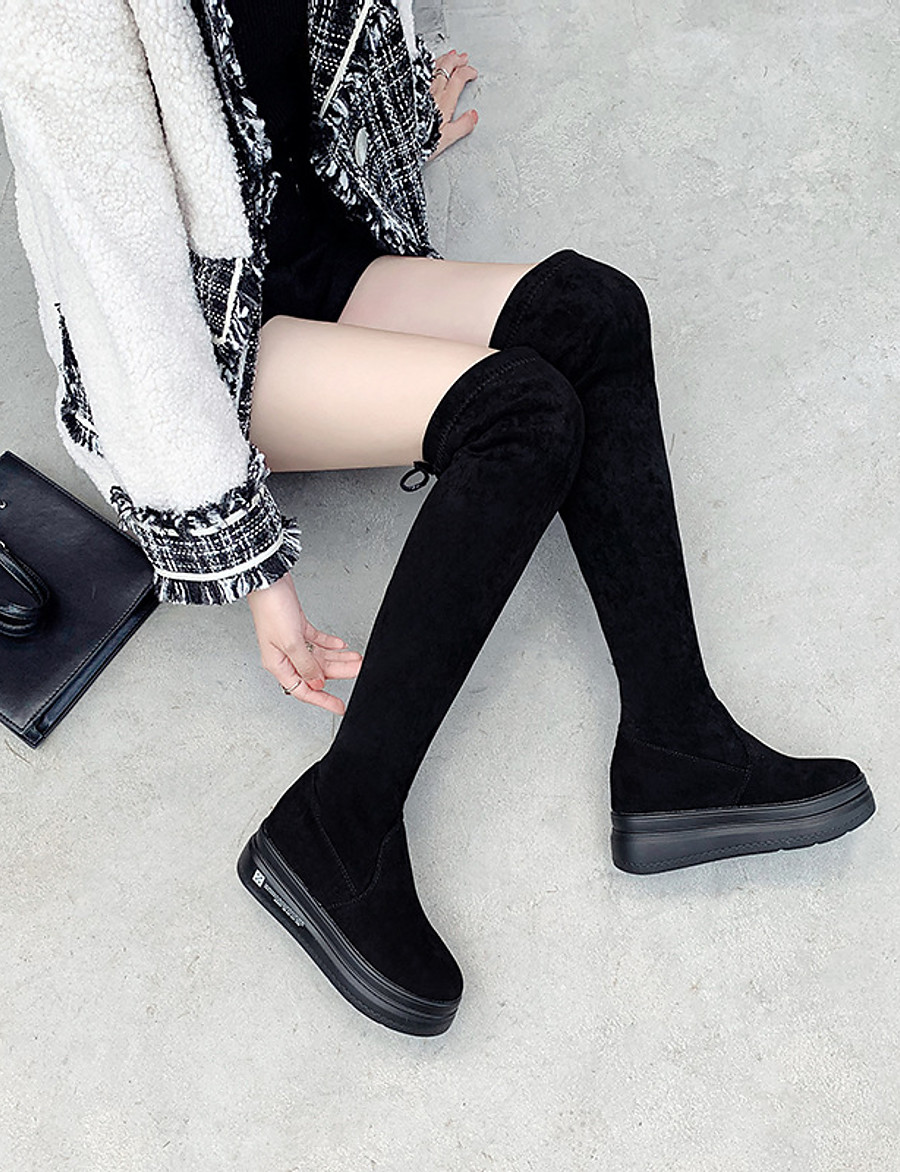 Women's Boots Over-The-Knee Boots Wedge Heel Suede Over The Knee Boots Fall & Winter Black
