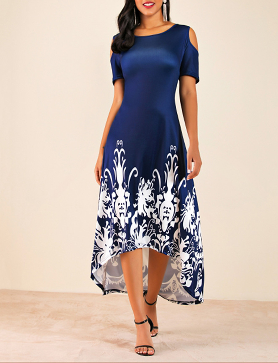 Women's Plus Size Daily Casual Basic High Low Cold Shoulder Swing Dress - Floral Flower Cut Out Floral Print Black Wine Navy Blue L XL XXL XXXL Belt Not Included