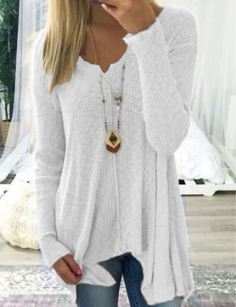Women's Casual Solid Colored Long Sleeve Long Pullover Sweater Jumper, Deep V Spring / Fall Black / White / Blushing Pink S / M / L