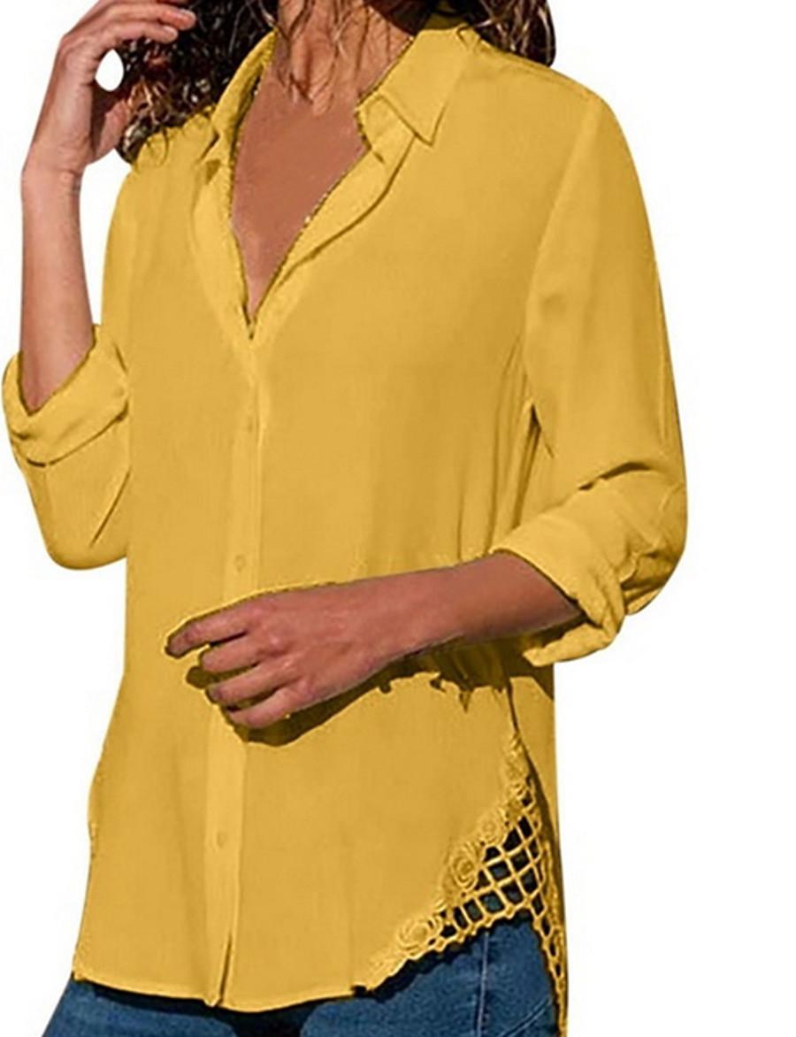 Women's Tops Solid Colored Shirt Shirt Collar Daily White Black Purple Yellow Blushing Pink Light Blue US4 / UK8 / EU36 US8 / UK12 / EU40 US10 / UK14 / EU42 US12 / UK16 / EU44 US14 / UK18 / EU46 US16