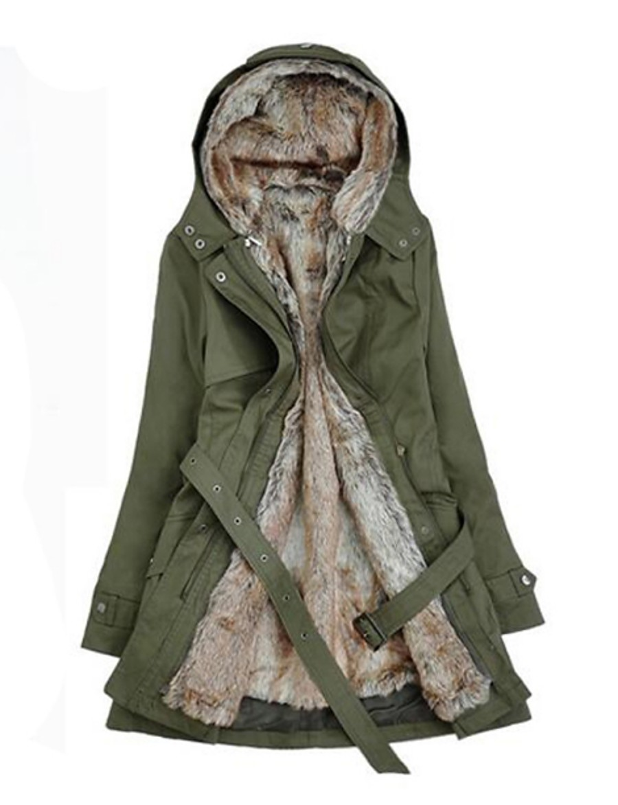Women's Winter Parka Parka Casual / Daily Solid Colored Long Cotton Long Sleeve Hooded Black / Army Green / Beige S / M / L