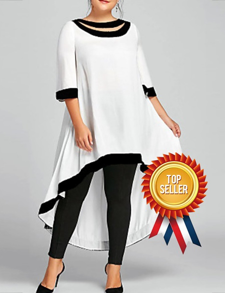 Women's Swing Dress Midi Dress - 3/4 Length Sleeve Clothing Spring & Summer Plus Size Casual 2020 White Black Blue Wine Navy Blue S M L XL XXL 3XL 4XL 5XL