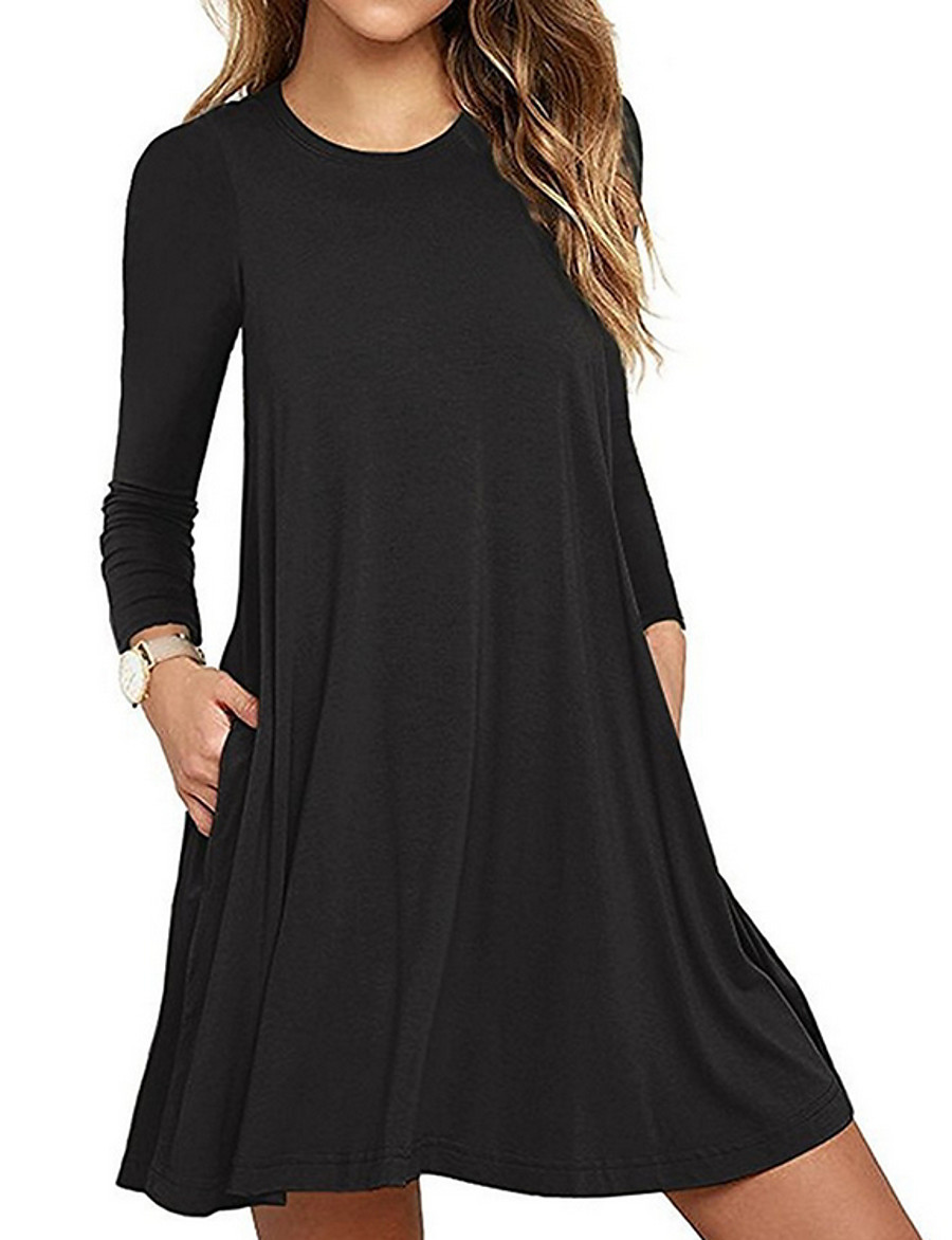Women's A Line Dress - Long Sleeve Solid Colored Spring & Summer 2020 Wine Black Purple Army Green Royal Blue Gray S M L XL XXL