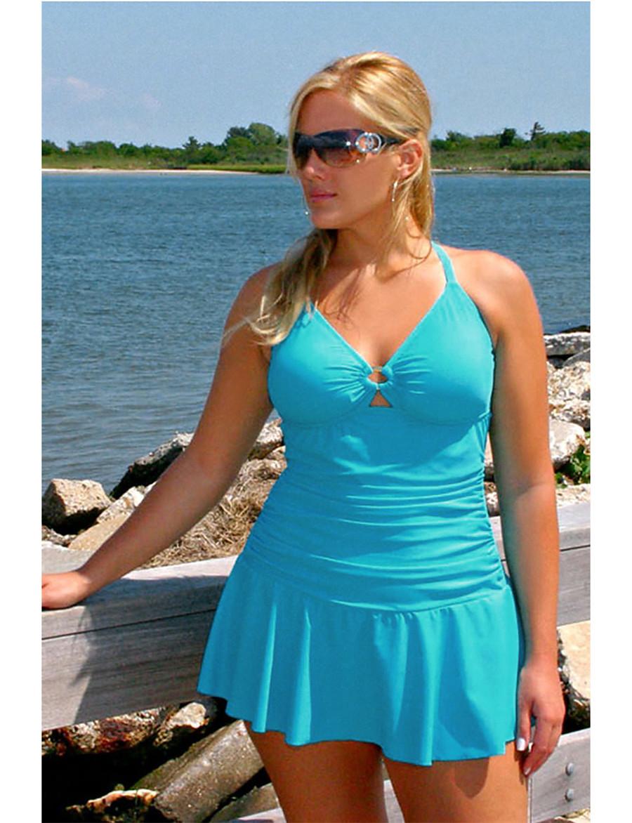 Women's Plus Size Basic Bandeau Skirt One-piece Swimwear Swimsuit - Solid Colored Peplum Backless L XL XXL Black Blue