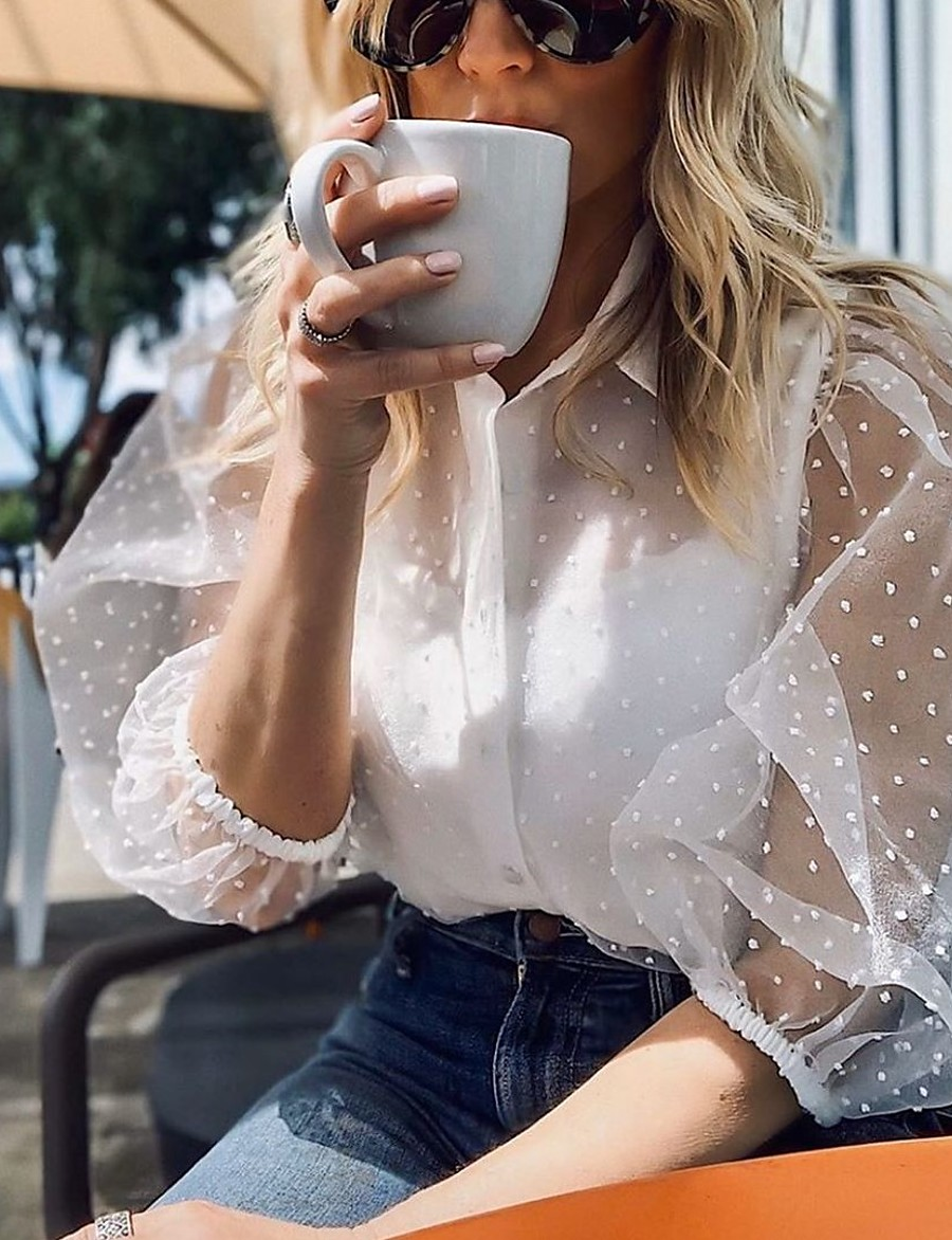 Women's Blouse Shirt Solid Colored Shirt Collar Tops Basic Top White