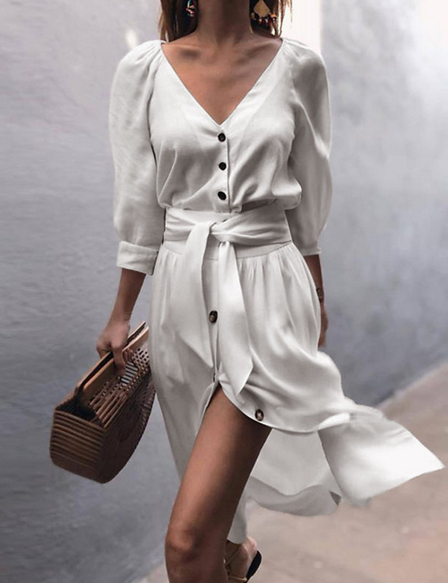 Women's Asymmetrical A Line Dress - Long Sleeve Solid Color V Neck White Blushing Pink Beige Gray S M L XL