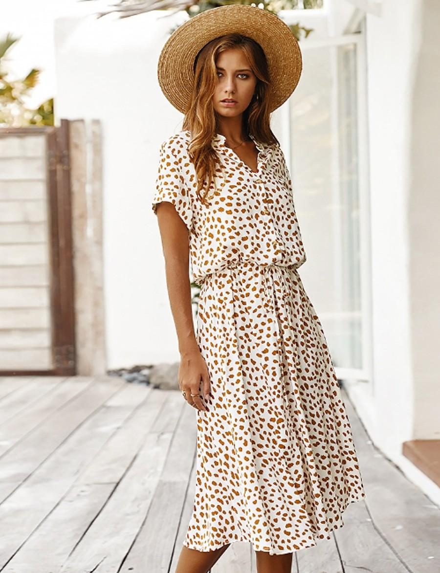 Women's A Line Dress - Geometric V Neck White Orange S M L XL