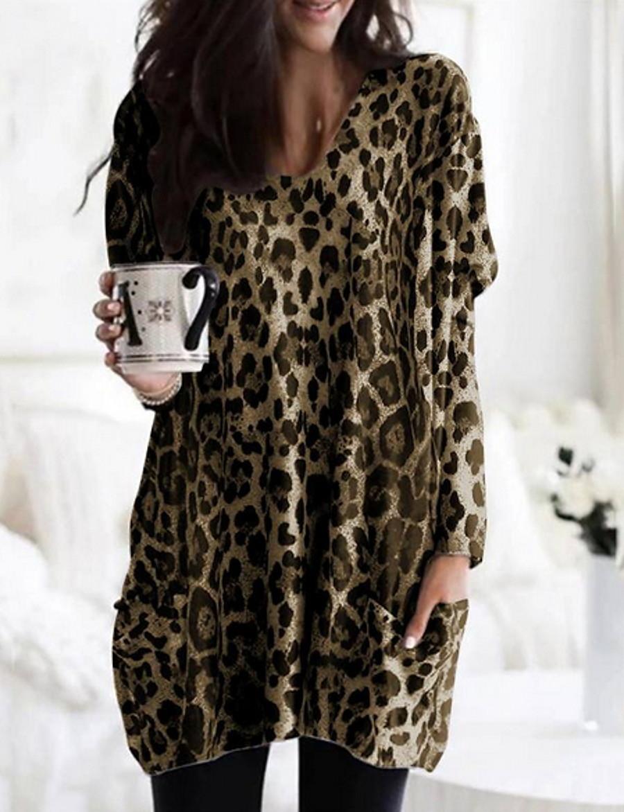 Women's Daily Loose Blouse - Leopard Khaki