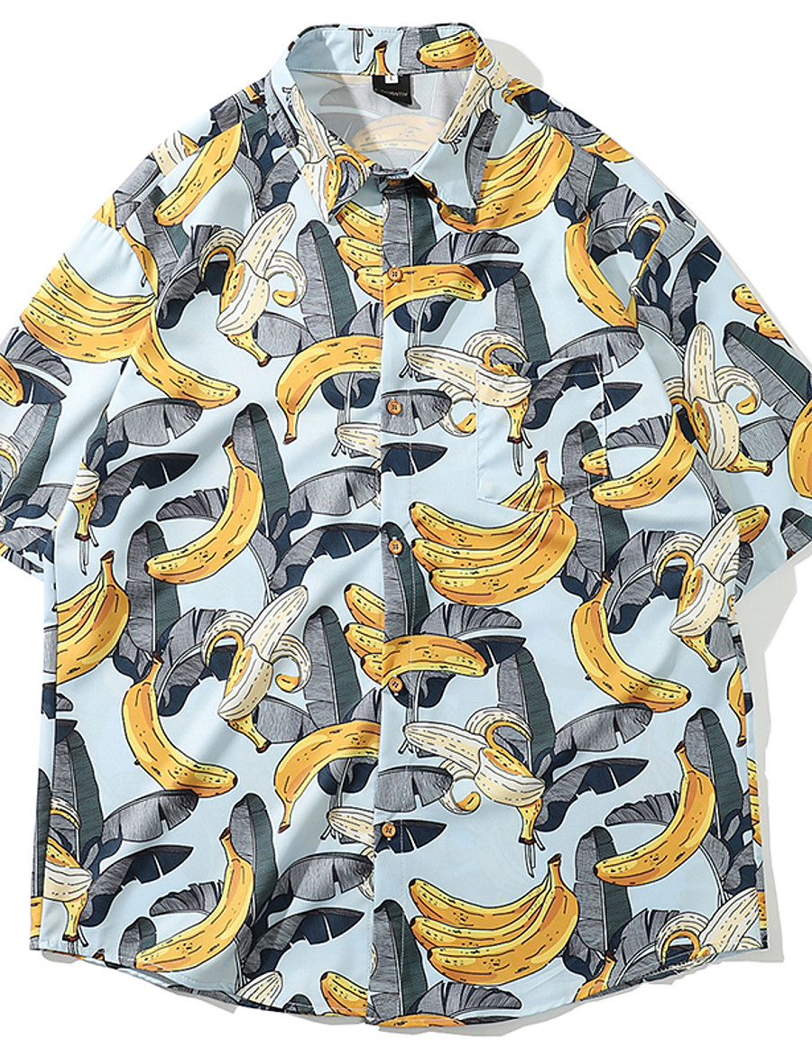 Men's Daily Basic / Tropical EU / US Size Shirt - Fruit Print Black