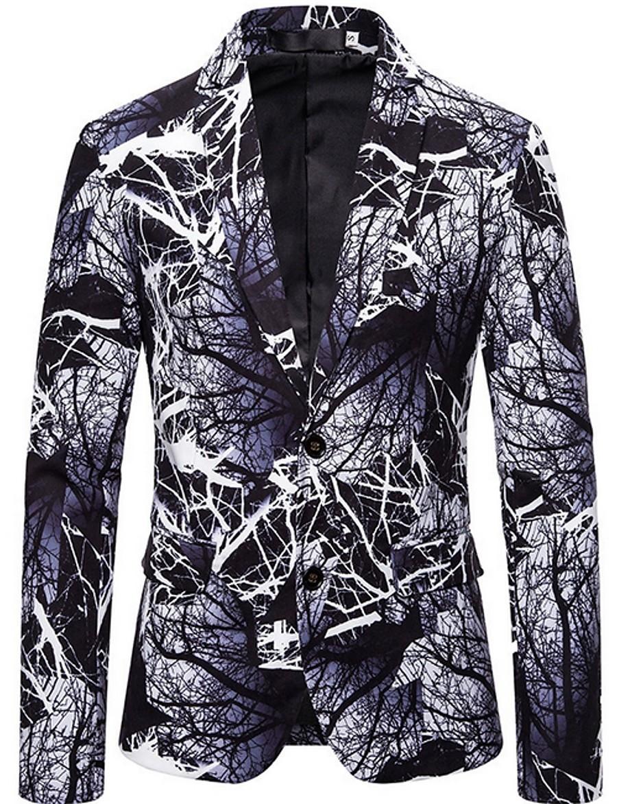 Men's Blazer Notch Lapel Polyester Black