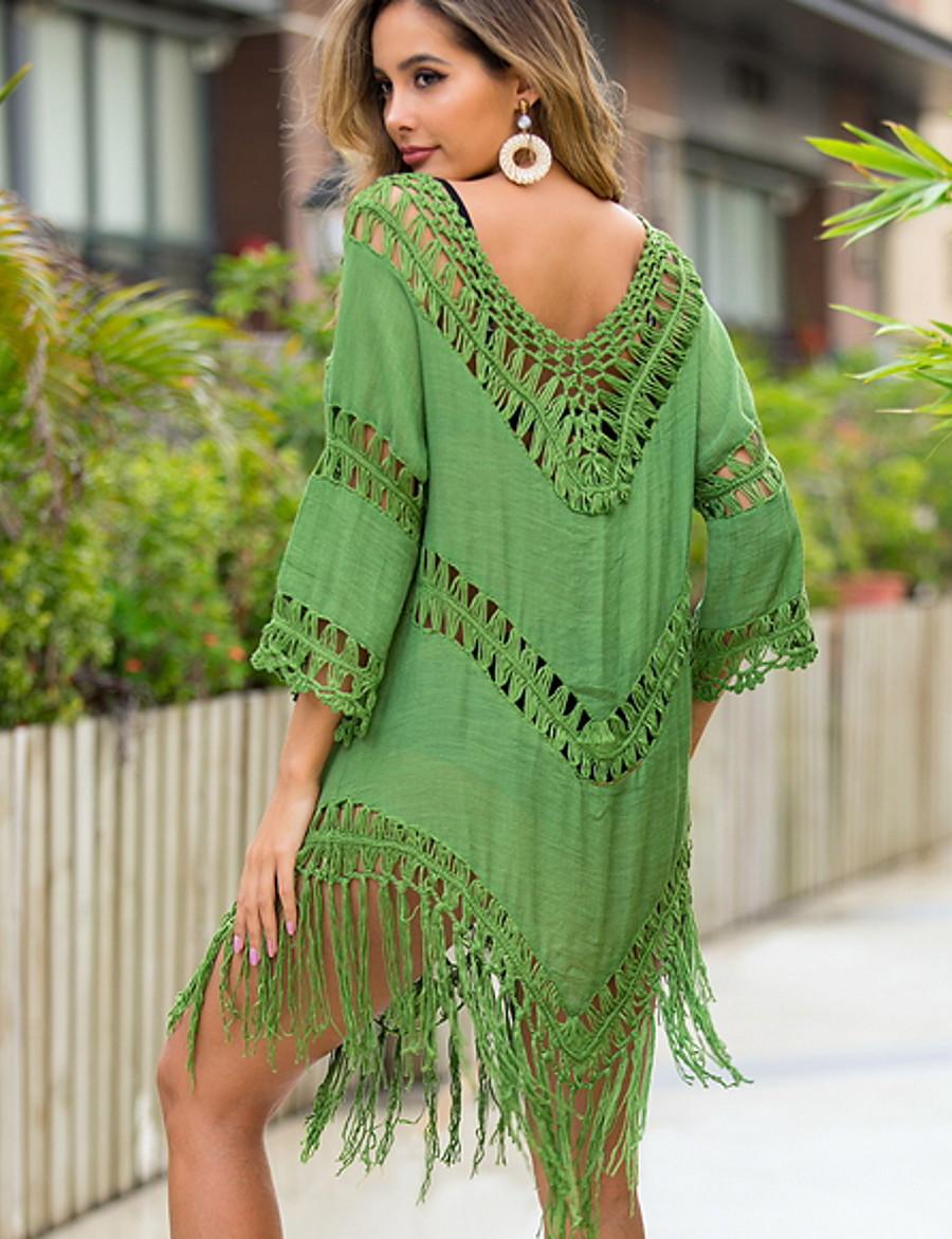 Women's Cover Up Swimsuit High Waist Blue Yellow Army Green Fuchsia Green Swimwear Bathing Suits
