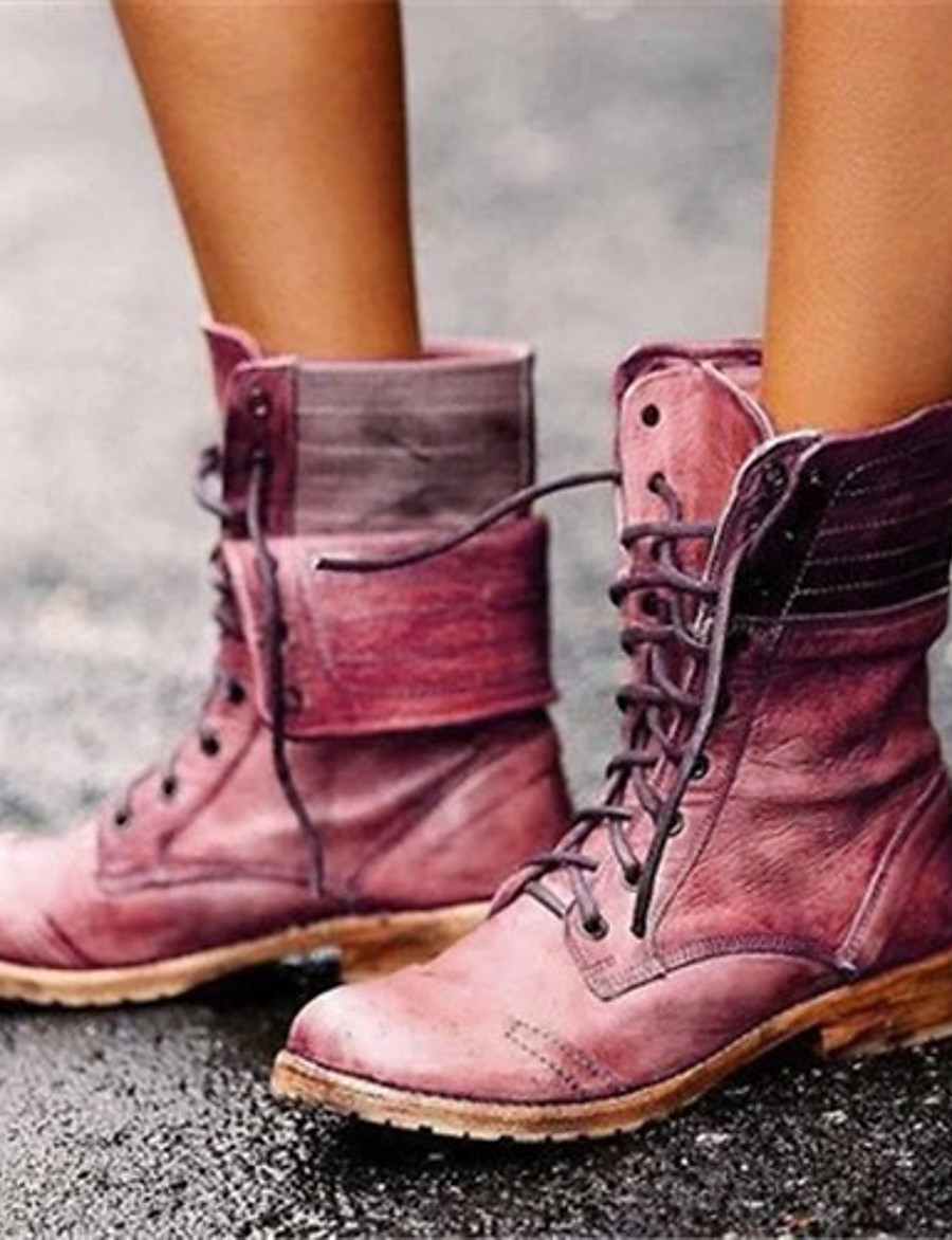 Women's Boots Comfort Shoes Flat Heel Round Toe PU Mid-Calf Boots Winter Brown / Red / Blue