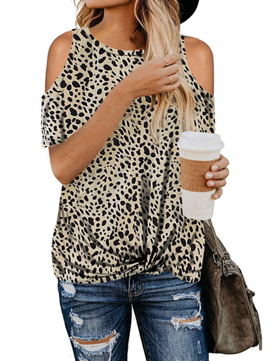 Women's Daily Blouse - Leopard Black