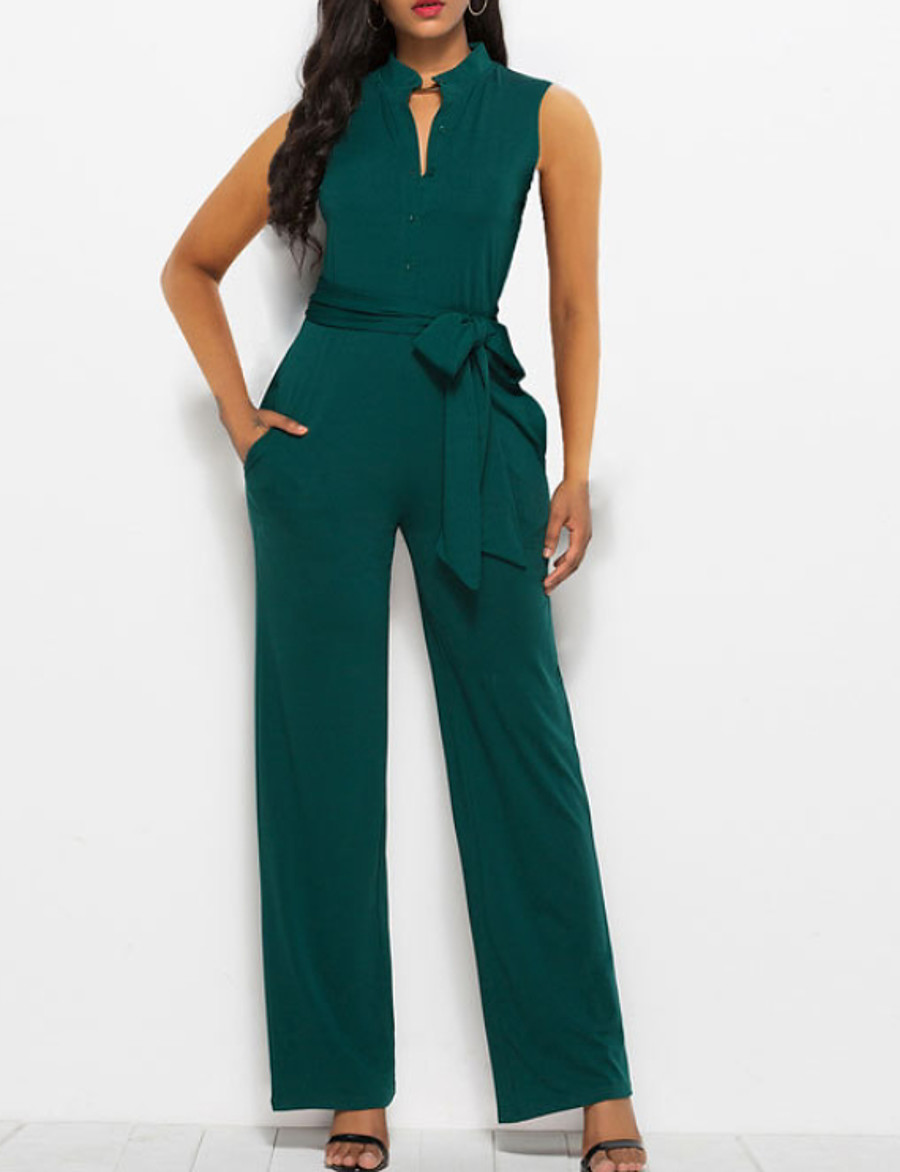 Women's Basic Black Red Green Slim Jumpsuit Solid Colored