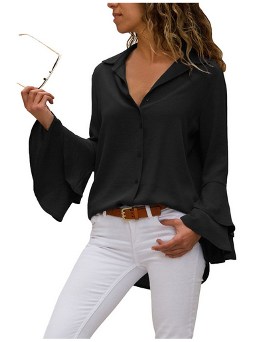 Women's Daily Shirt - Solid Colored Black