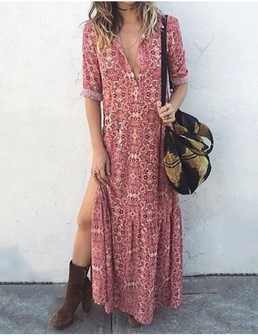 Women's Elegant Maxi Slim Sheath Dress - Solid Colored V Neck Blushing Pink S M L XL