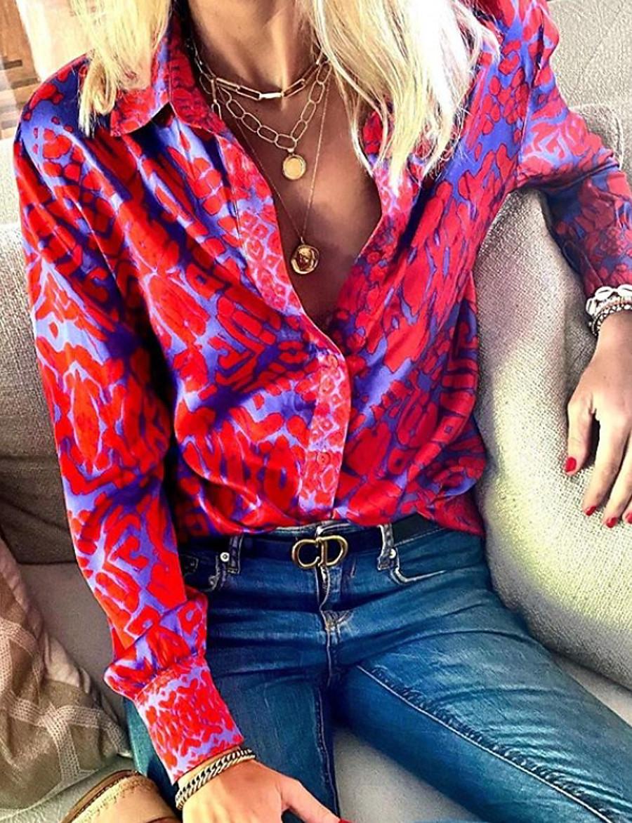 Women's Abstract Shirt Daily Shirt Collar Fuchsia