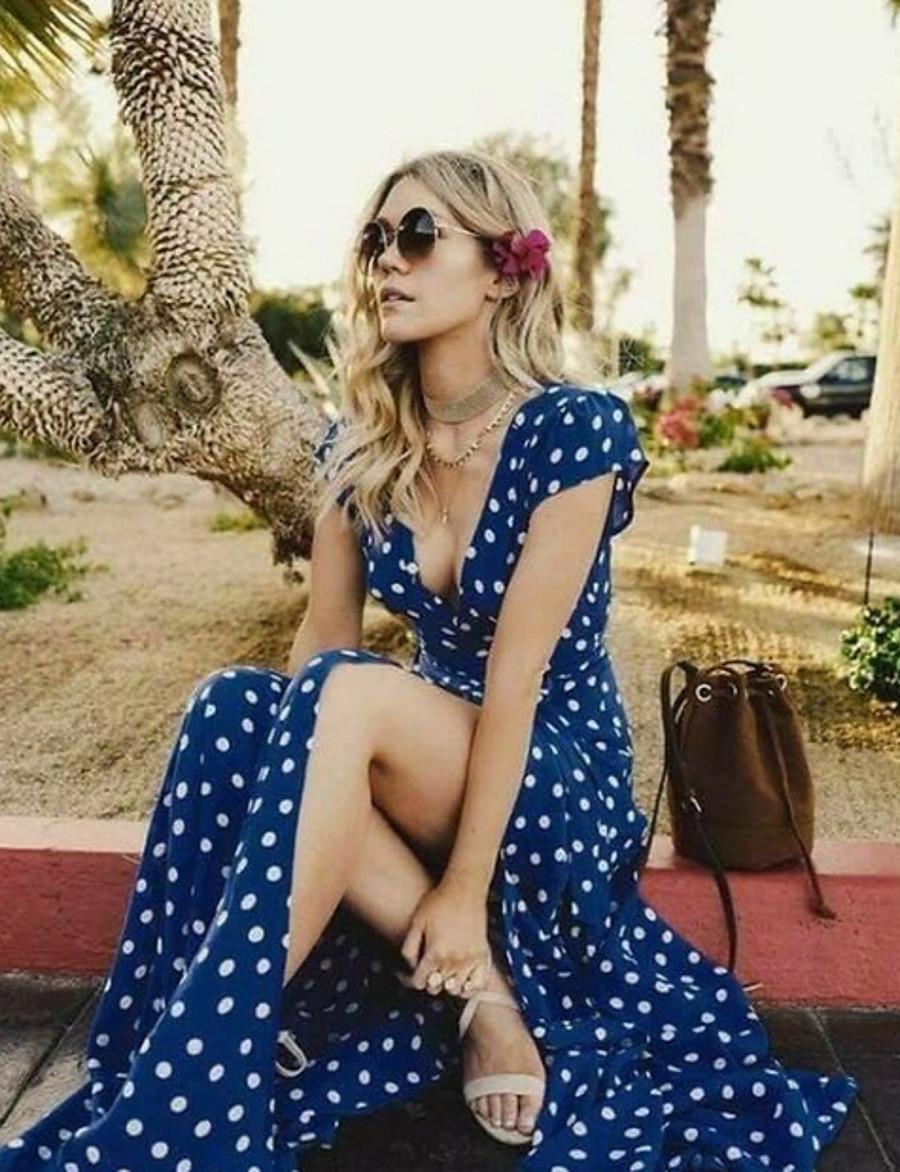 Women's Swing Dress Midi Dress - Short Sleeve Polka Dot Spring & Summer V Neck Elegant Slim 2020 White Black Red Royal Blue S M L XL