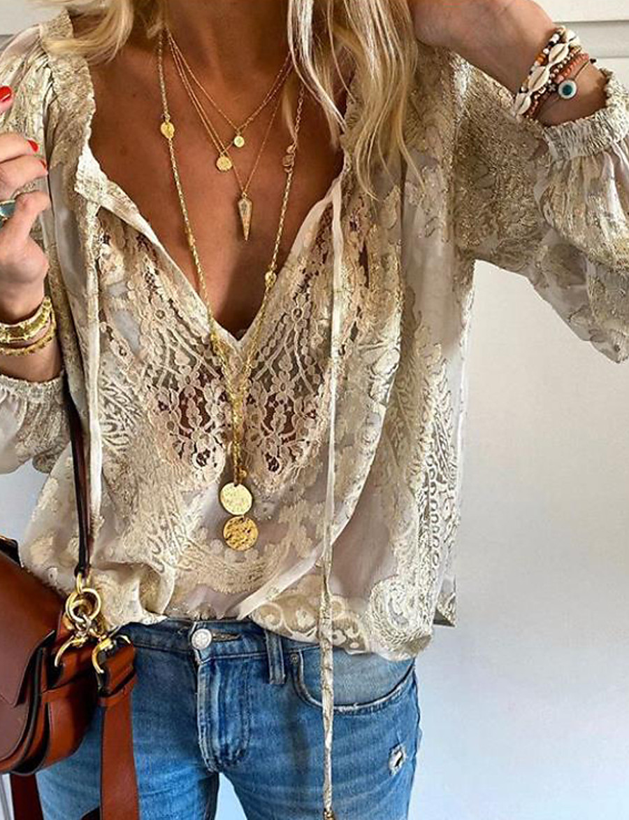 Women's Daily T-shirt - Solid Colored Lace / Embroidery / Hollow Out V Neck Beige
