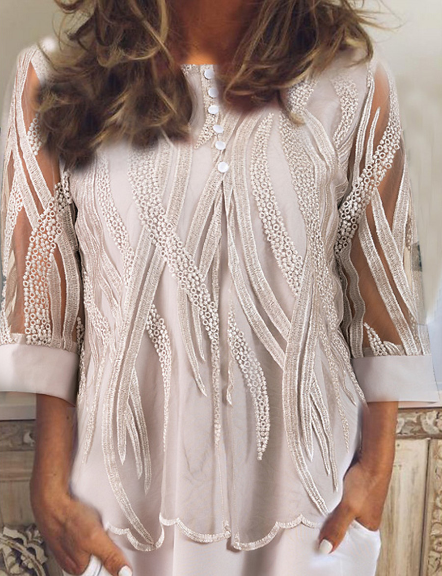 Women's Causal Lace Blouse - Geometric Gray / Spring / Fall