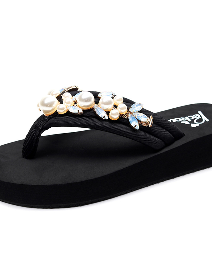 Women's Slippers & Flip-Flops Flat Heel Open Toe Rhinestone / Imitation Pearl Polyester Classic / Casual Walking Shoes Summer Black
