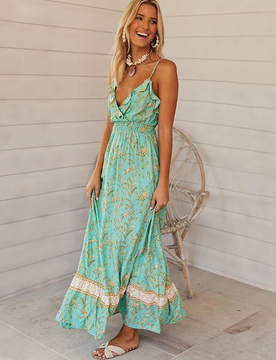 Women's 2020 Maxi A Line Dress - Floral Strap Spring & Summer Green S M L XL