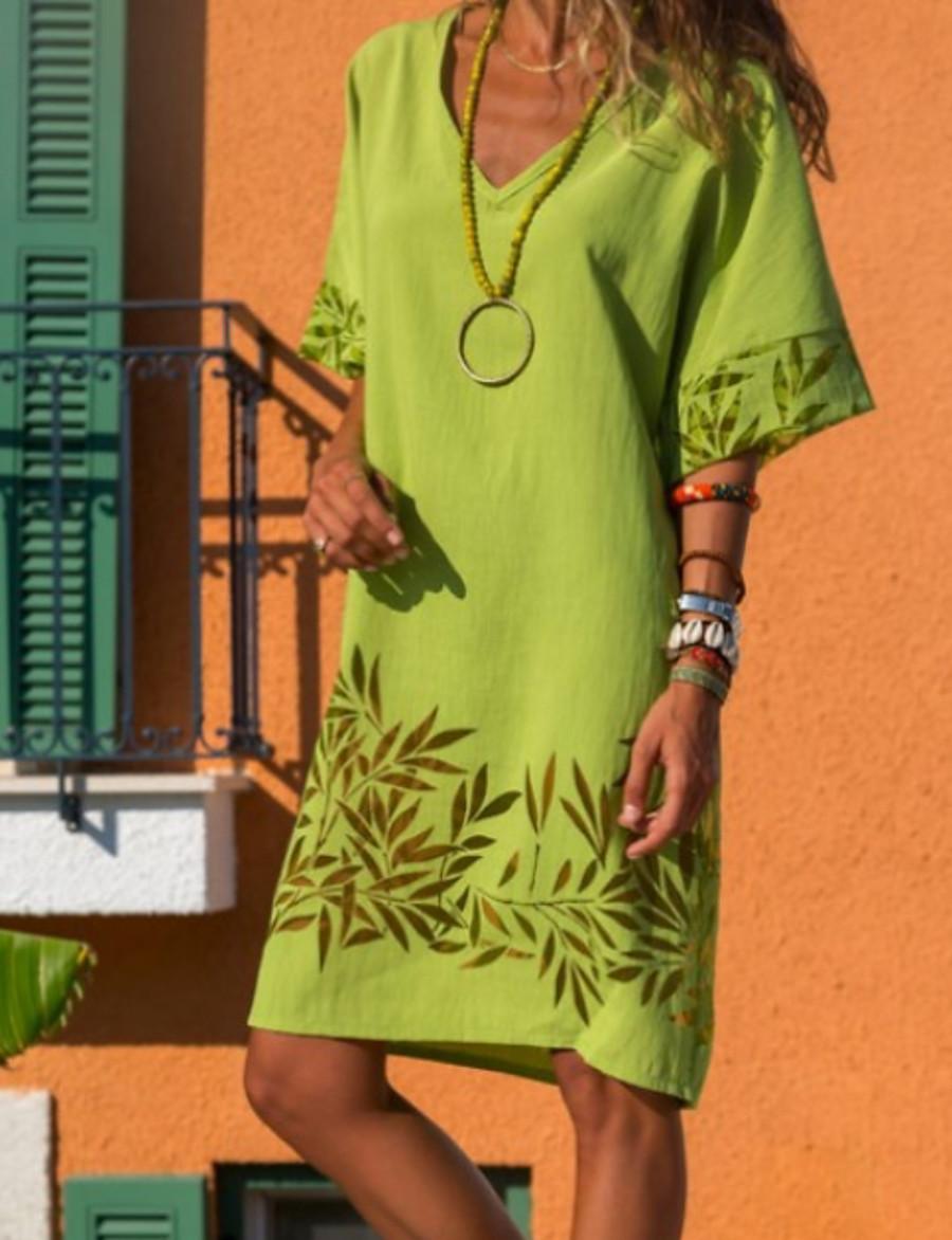 Women's Shift Dress - Short Sleeve Solid Colored V Neck Elegant Slim Blue Red Yellow Green S M L XL XXL XXXL