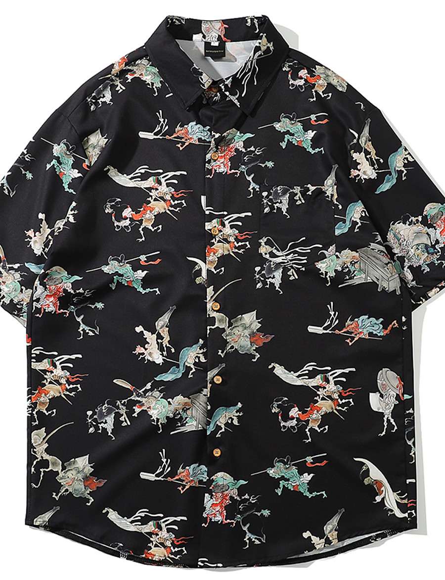 Men's Daily Basic / Tropical Shirt - Abstract Print Black