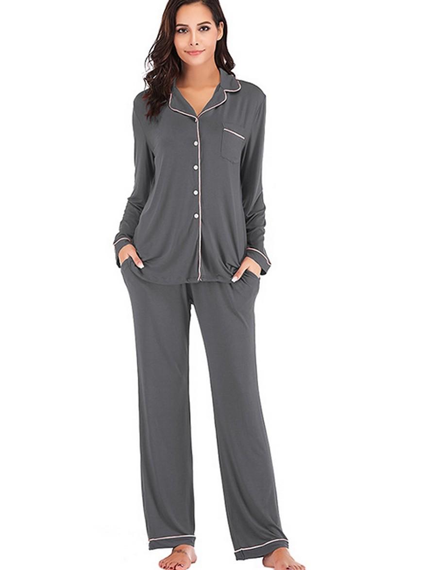 Women's Suits Nightwear Black Wine Purple S M L