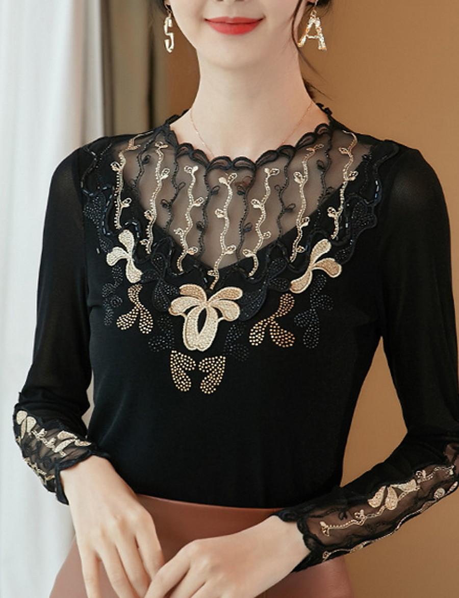 Women's Daily T-shirt - Color Block Black