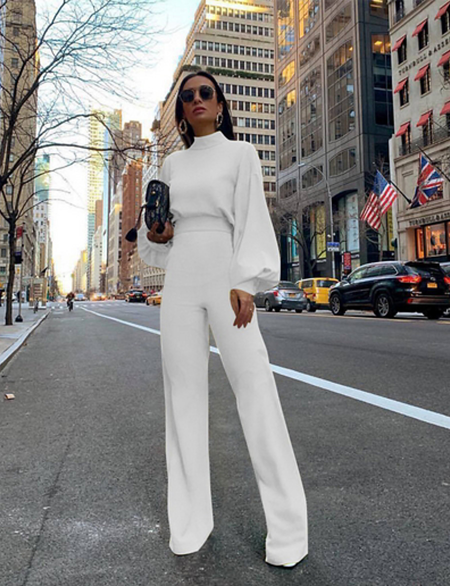 Women's Basic Street Crew Neck White Black Yellow Jumpsuit Solid Colored