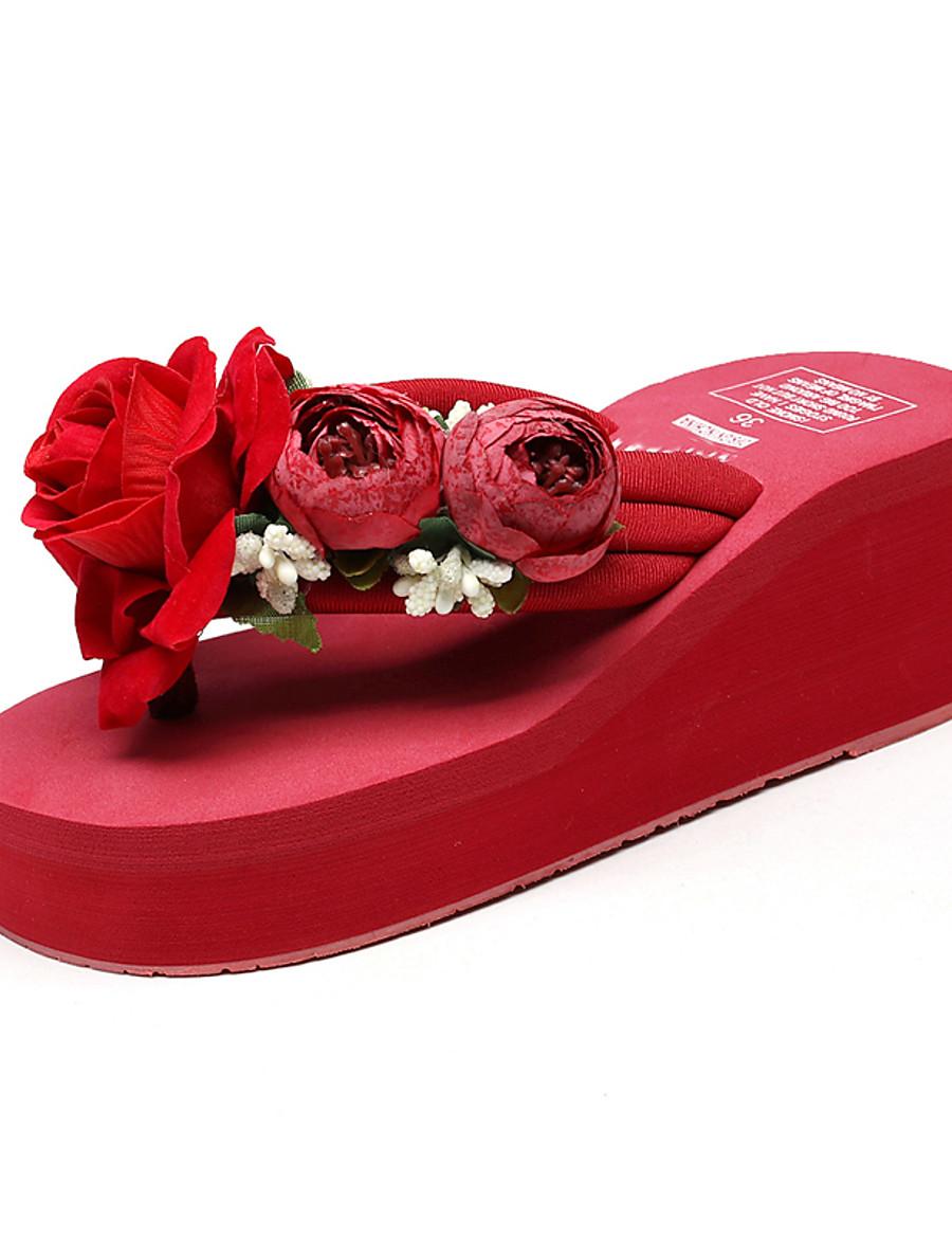 Women's Slippers & Flip-Flops Boho / Beach Wedge Heel Open Toe Imitation Pearl / Satin Flower / Sequin Polyester Sweet / Chinoiserie Walking Shoes Summer Wine / White / Black / Party & Evening