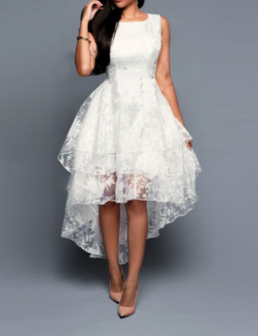Women's A-Line Dress Midi Dress - Sleeveless Floral White S M L XL XXL