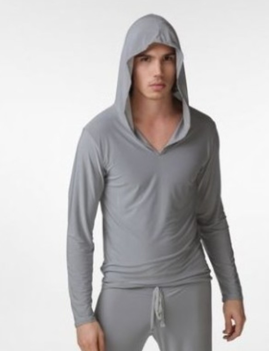 Men's Hooded Robes Pajamas Solid Colored