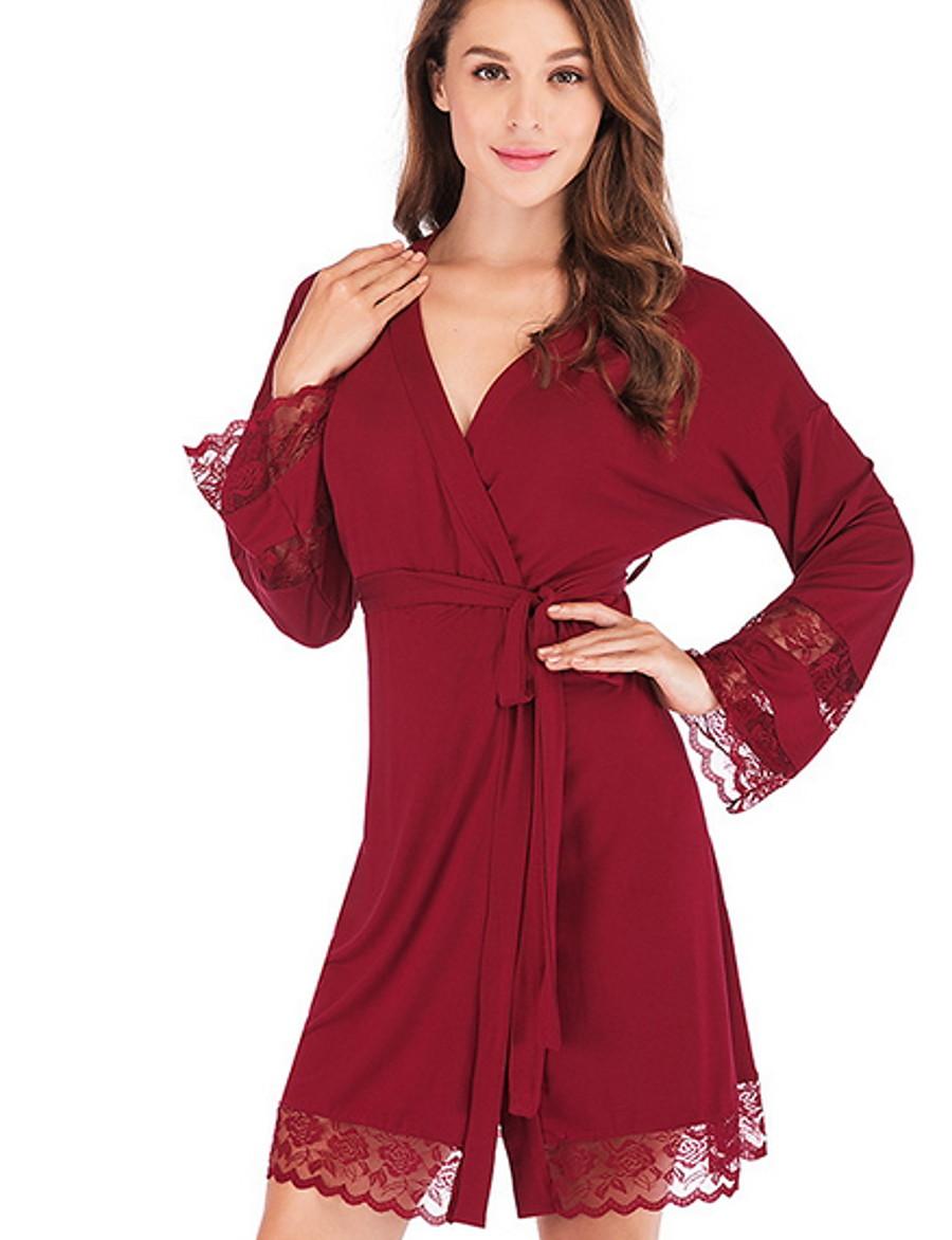 Women's Chemises & Gowns Nightwear Black Wine S M L