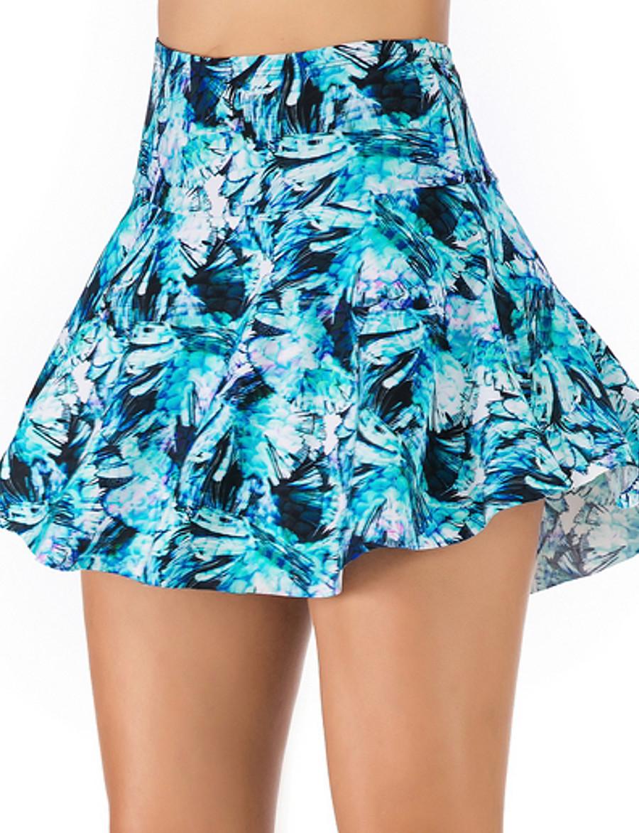 Women's Bikini Bottoms Swimsuit Floral Swimwear Bathing Suits Light Blue Green