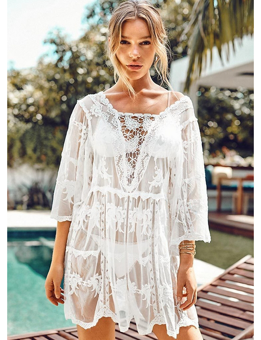 Women's Cover-Up Swimsuit Solid Colored Swimwear Bathing Suits White