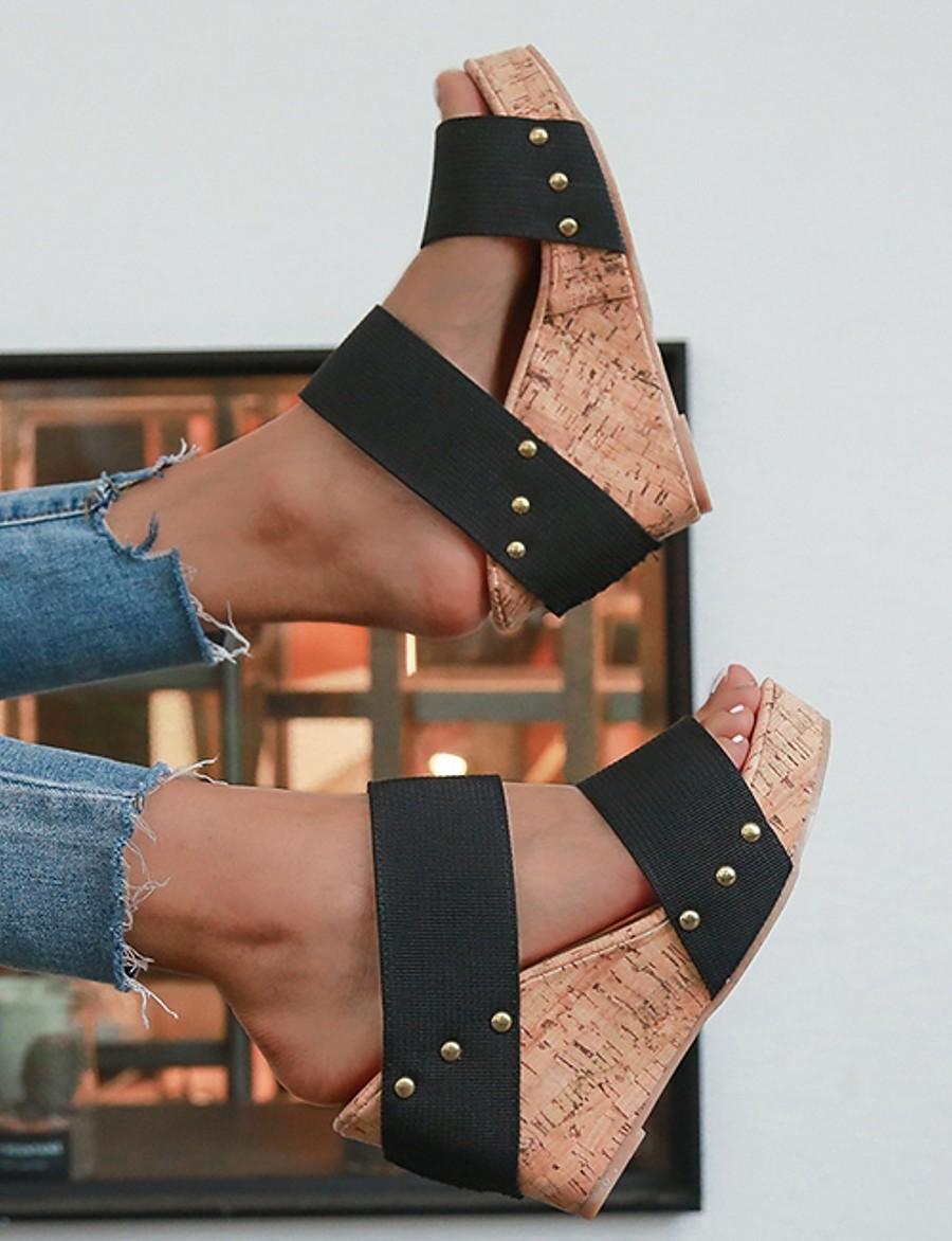 Femme Sandales Chaussures de confort Hauteur de semelle compensée Bout ouvert Simple Intérieur Marche Polyuréthane Billes Rayé Couleur Pleine Eté Noir Bleu Beige