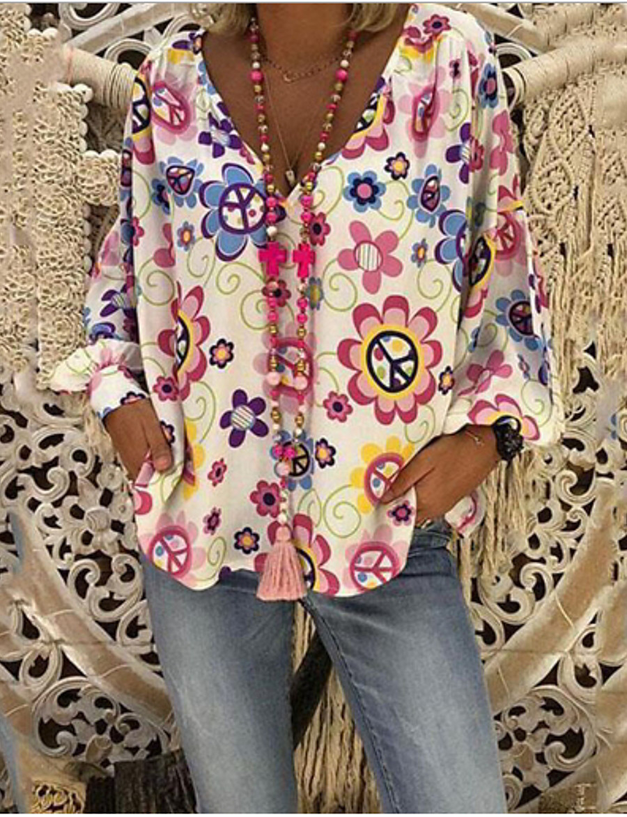 Women's Plus Size Floral Print Loose Blouse Casual Boho Daily V Neck White