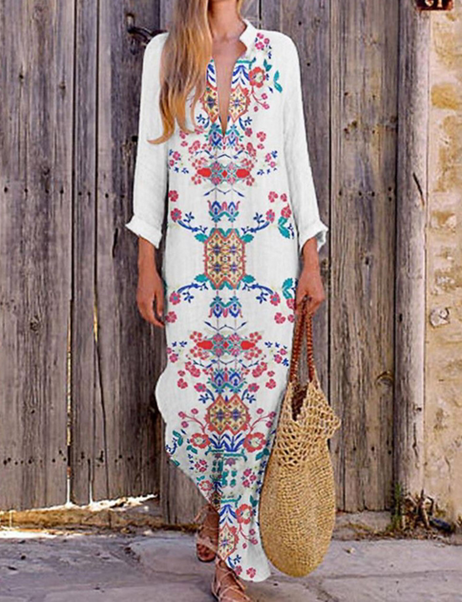 Women's Maxi Loose Dress - Long Sleeve Floral Print Spring & Summer V Neck Causal Holiday Vacation Loose Wine White Blue Orange Green S M L XL XXL XXXL