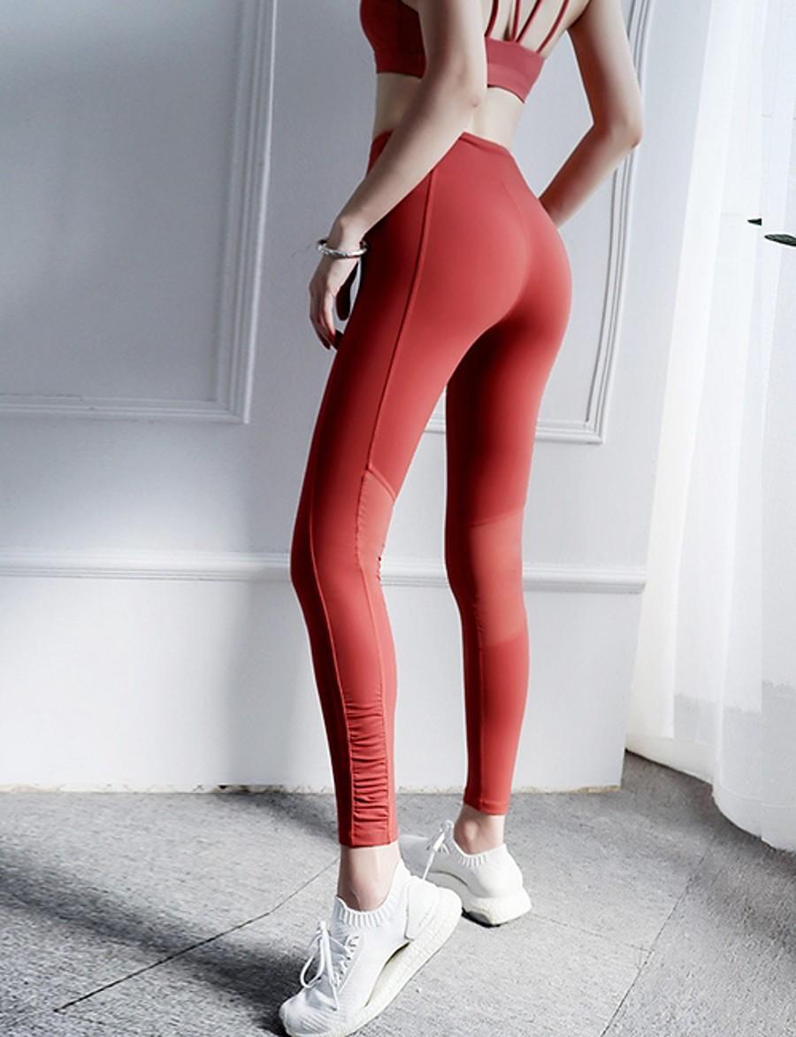 Women's Sporty Sweatpants Pants - Solid Colored Red Black S M L