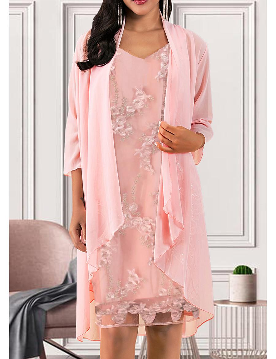 Women's Blushing Pink Dress Elegant A Line Solid Colored V Neck M L